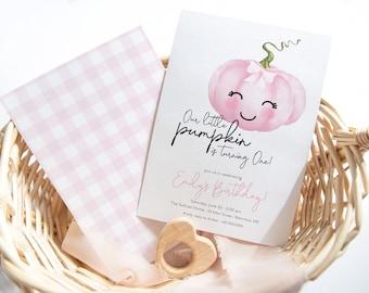 Preppy Pumpkin Birthday Party Invitations - Our Little Pumpkin - Pumpkin Theme Invites - Gingham Pumpkin Invite - Pink Gingham