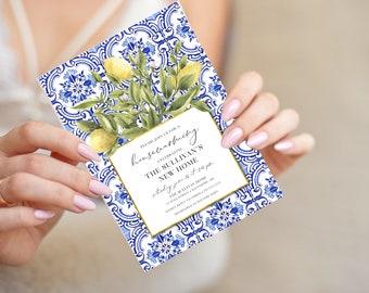 Tuscan Lemon Housewarming Party Invitation - Portuguese Blue Tile and Lemon Invitation