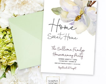 Magnolia Housewarming Party Invitation White Flowers and Grey Watercolor Modern Calligraphy Southern Party Invitation Printable