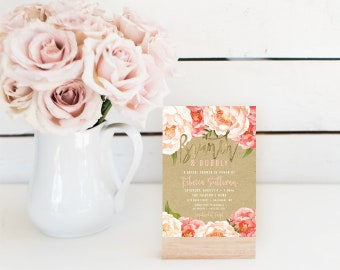Brunch and Bubbly Bridal Shower Invitation - Fall Peach Peony