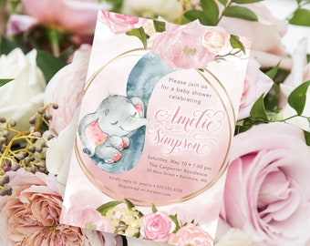 Blush Pink Floral Elephant Baby Shower Invitation - It's a Girl
