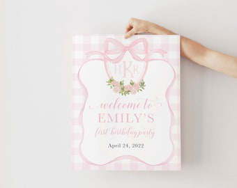 Preppy Monogram Pink Gingham Baby Shower Welcome Sign - First Birthday Welcome Sign