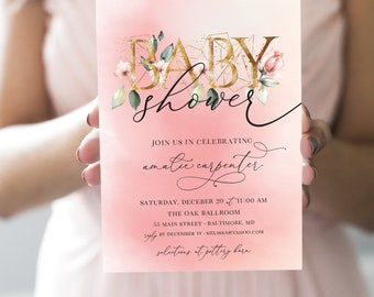 Floral Pink and Gold Baby Shower Invitation - It's a Girl! Peony Roses Blush Pink Invitation Girl Baby Shower faux gold foil printable