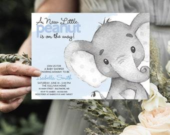 Blue Elephant Baby Shower Invitation - It's a Boy Watercolor Elephant Modern Baby Shower Blue and Grey Little Peanut Printable Baby Boy