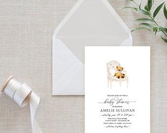 Gray Gender Neutral Teddy Bear Baby Shower Invitation