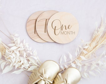 Baby Monthly Milestone Markers - Script Wooden Milestone Tracker Discs - Milestone Signs for Photos - Baby Photo Prop - Baby Shower Gift