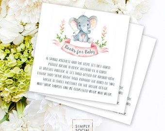INSTANT DOWNLOAD Elephant Baby Shower Bring a Book Instead of a Card insert Pink Boho Elephant Jungle Watercolor Calligraphy PRINTABLE