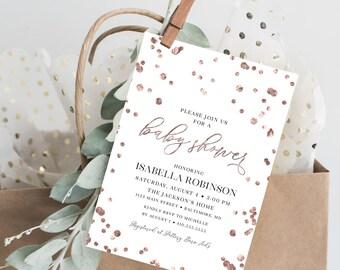Rose Gold Confetti Baby Shower Invite - Baby Sprinkle Invitation - Baby Shower Invitation Printable Invite Faux Rose Gold Foil