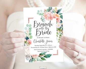 Brunch with the Bride Pink Greenery Bridal Shower Invitation