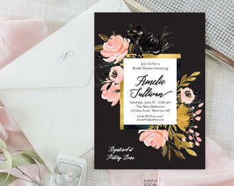 Blush Gold Black Floral Bridal Shower Invitation