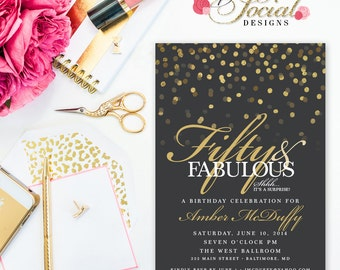 Glitter Glam Confetti Surprise 60th 50th 40th 30th Birthday Party Invitation Fifty and Fabulous Forty and Fabulous PRINTABLE Grey Background