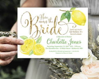 Lemon Bridal Shower Invitation - Fresh Lemon and Gold Glitter Invitation Printable Fresh Squeezed Lemonade Main Squeeze