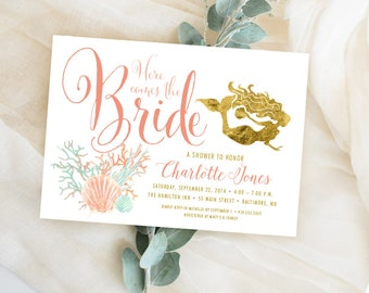 Under the Sea Mermaid Bridal Shower Invitation - Here Comes the Bride Coral Faux Gold Foil Beach Invitation Gold Glitter Glam Watercolor