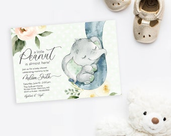 Baby Elephant Shower Invitation - It's a Girl Watercolor Elephant - Little Peanut is Almost Here - Sweet Little Peanut