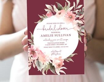 Fall Burgundy Greenery Bridal Shower Invitation