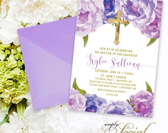 Purple Floral Baptism Invitation