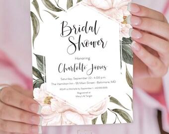 Pink Floral Greenery Bridal Shower Invitation - Geometric Invitation - Garden Shower - Peony Roses Blush Invitation Watercolor Printable
