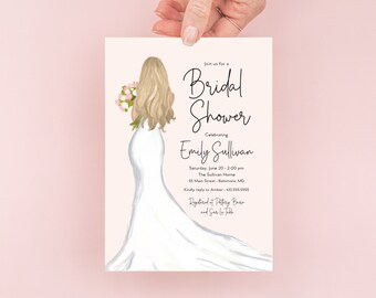 Blonde Bride in a Gown Bridal Shower Invitation