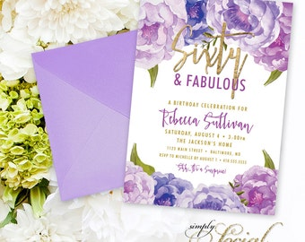 Sixty and Fabulous Birthday Party Invitation - Purple Peony Ranunculus and Faux Gold Foil Watercolor Floral Boho 60th 50th 40th Printable