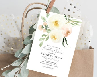 Creme Floral Bridal Shower Invitation - Blush Pink Flowers - Printed Invitations - Greenery Invitation Watercolor