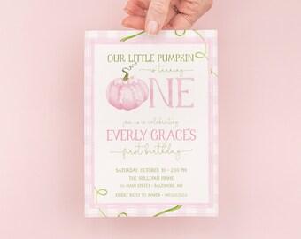 Pumpkin First Birthday Invitation - Fall Girl 1st Birthday Party Invites - Pink Pumpkin - Fall Birthday - Farm Party - Watercolor