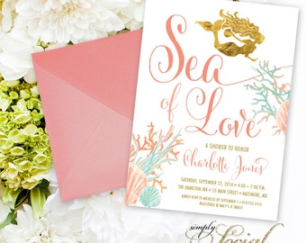 Under the Sea Mermaid Bridal Shower Invitation - Boho Sea of Love Coral Faux Gold Foil Beach Invitation Gold Glitter Watercolor