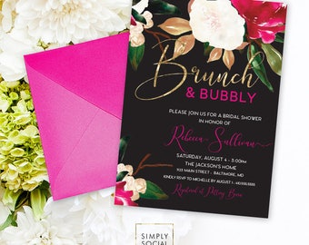 Brunch and Bubbly Southern Bridal Shower Invitation - White Magnolia and Faux Gold Foil Watercolor Magenta Boho Shower Invitation Printable