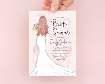 Red Hair Bride in a Gown Pink Watercolor Bridal Shower Invitation