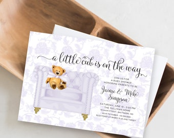 Lilac Purple Chinoiserie Teddy Bear Baby Shower Invitation - It's a Girl - Little Cub - Baby Girl