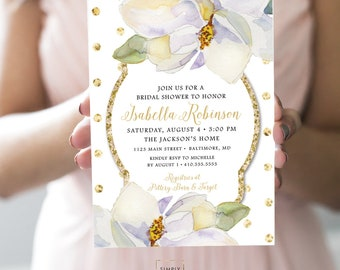 Magnolia Bridal Shower Invitation - White Flowers and Gold Glitter Polka Dots Printable