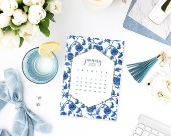 2021 Calendar Blue and White Chinoiserie Ginger Jar INSTANT DOWNLOAD Printable DIY
