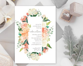 Peaches and Cream Floral Greenery Bridal Shower Invitation
