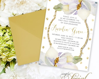Magnolia First Holy Communion Invitation