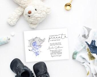 Blue Sleeping Elephant Baby Shower Invitation - It's a Boy Watercolor Elephant - Little Peanut is Almost Here - Sweet Little Peanut