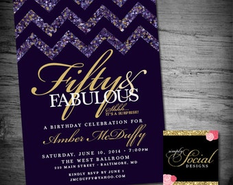 The Jewel Collection Glitter Glam Amethyst Chevron Surprise 60th 50th 40th 30th Birthday Invitation Fifty and Fabulous PRINTABLE purple
