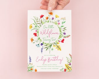 Wildflower Birthday Invitations - Our Little Wildflower - Wildflower Garden Party - Girl Birthday - Wildflower Garden Birthday Invites