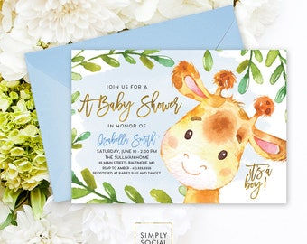 Blue Giraffe Baby Shower Invitation