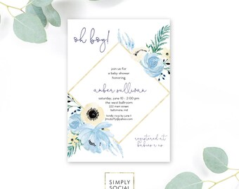 Blue Floral Baby Shower Invitation - Garden Shower - Oh Baby! Greenery Peony Roses Dusty Blue Invitation Watercolor faux gold foil Printable