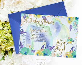 Elephant Baby Shower Invitation - Boho Elephant It's A Boy Floral Baby Shower Invitation Watercolor Faux Gold Foil