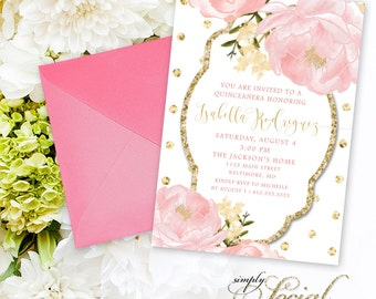 Quinceañera Invitation - Birthday Peony Flowers Blush Pink and Gold Polka Dots Custom Personalized PRINTABLE