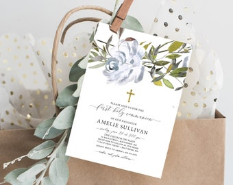 Gender Neutral, Blue Floral First Holy Communion Invitation, Baptism Invitation