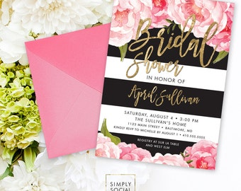 Floral Stripe Bridal Shower Invitation - Pink Peony Ranunculus and Faux Gold Foil Watercolor Boho Black Stripes Shower Invitation Printable