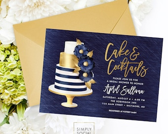 Navy Bridal Shower Invitation - Navy Blue and Gold Shower Invite Cake Invitation Cake and Cocktails Bridal Shower Printable