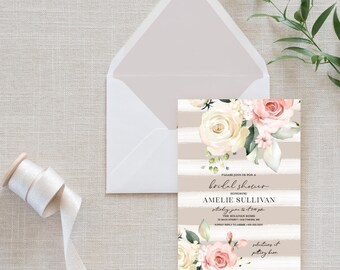 Pink Floral Bridal Shower Invitation Shiplap