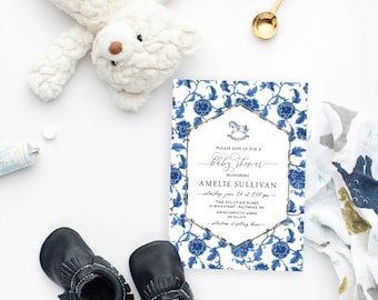 Navy Rocking Horse Chinoiserie Baby Shower Invitation
