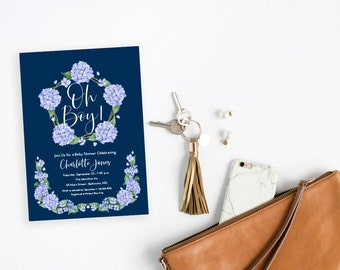 Blue Hydrangea Floral Baby Shower Invitation - Oh Boy It's a Boy Boho Flowers Watercolor Printable Party Invite