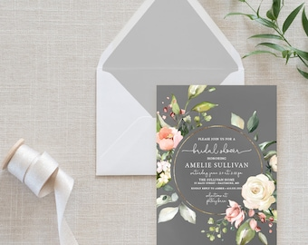 Pink and Gray Floral Bridal Shower Invitation
