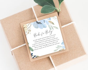 INSTANT DOWNLOAD Blue Floral Baby Shower Bring a Book Instead of a Card insert Blue Boho Watercolor Calligraphy PRINTABLE
