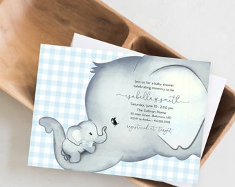 Blue Gingham Elephant Baby Shower Invitation - It's a Boy Watercolor Elephant Modern Baby Shower Blue and Grey Little Peanut Baby Boy
