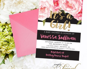 Pink Floral Stripe Baby Shower Invitation